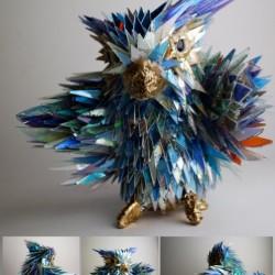 ساخت پرنده با تکه های شکسته سی دی
