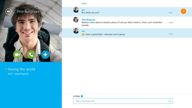 برنامه Skype ویندوز۸ عرضه شد.