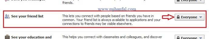 3454 پنهان کردن لیست دوستان در فیسبوک