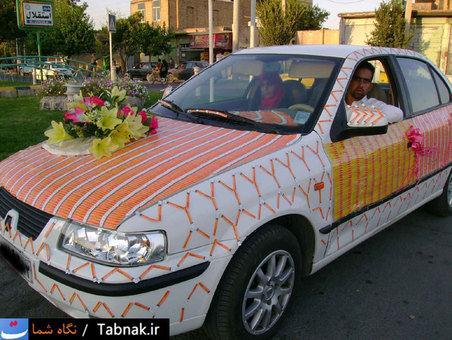 تزئین ماشین عروس با کارت شارژ در ایران ! (عکس)