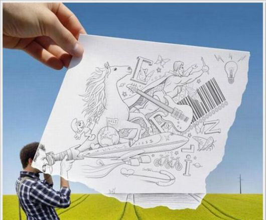 طراحی زیبا مداد ترکیب آن با زندگی واقعی