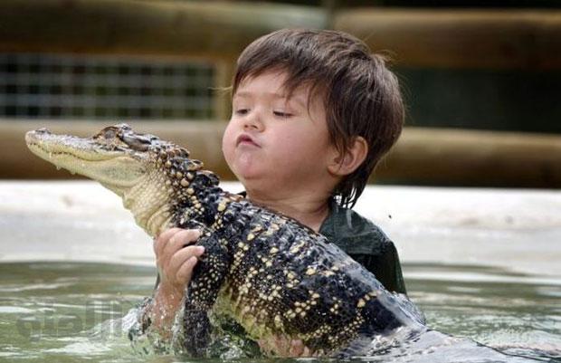 کودک سه ساله پر دل و جرات / عکس