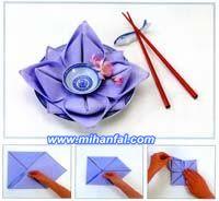 تزئین دستمال سفره به شکل گل