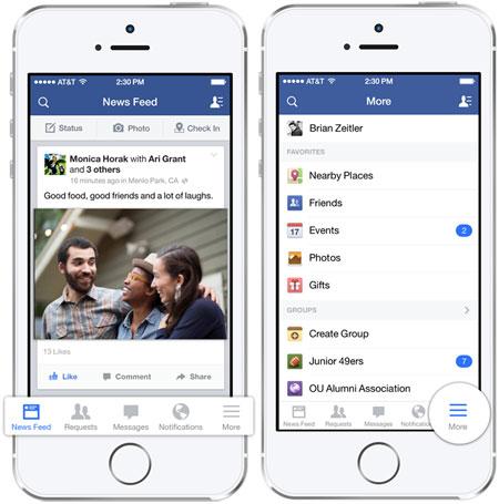 اپلیکیشن فیسبوک برای iOS 7 منتشر شد