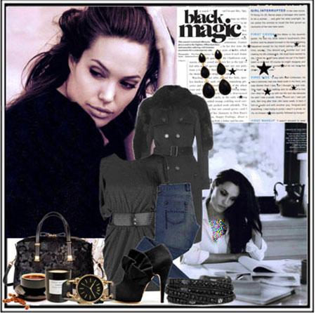 مدل ست کردن لباس پاییزه به سبک Anjelina Jolie