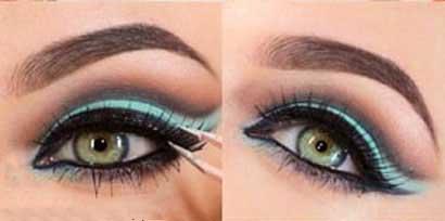 آموزش تصویری آرایش چشم با سایه فیروزه ای