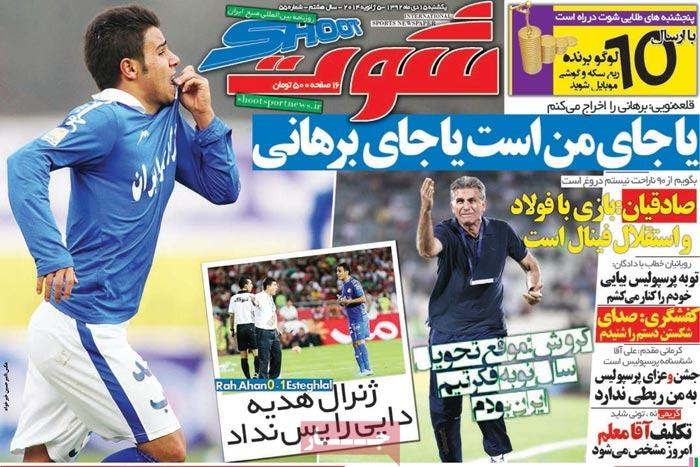 صفحه اول روزنامه های ورزشی امروز یکشنبه 15 دی ۱۳۹۲