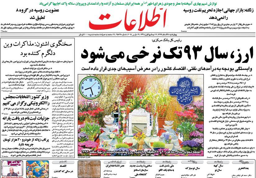 صفحه اول روزنامههای امروز چهارشنبه 28 اسفند ۱۳۹۲