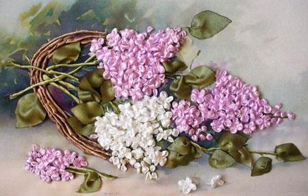 آموزش تصویری دوخت گل یاس بنفش