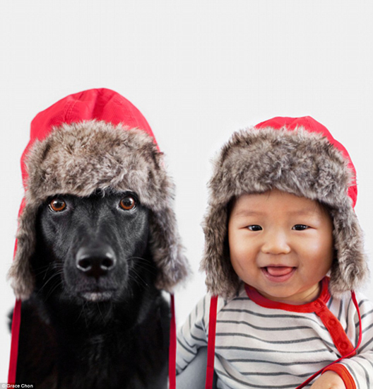 تیپ زدن جالب سگ و کودک /تصاویر