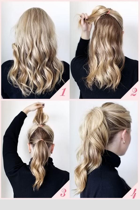 آموزش تصویری بستن موی دم اسبی