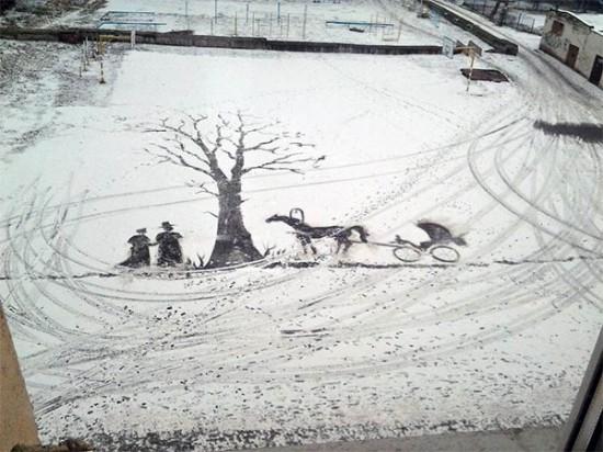 نقاشی های زیبا در حیاط مدرسه /تصاویر
