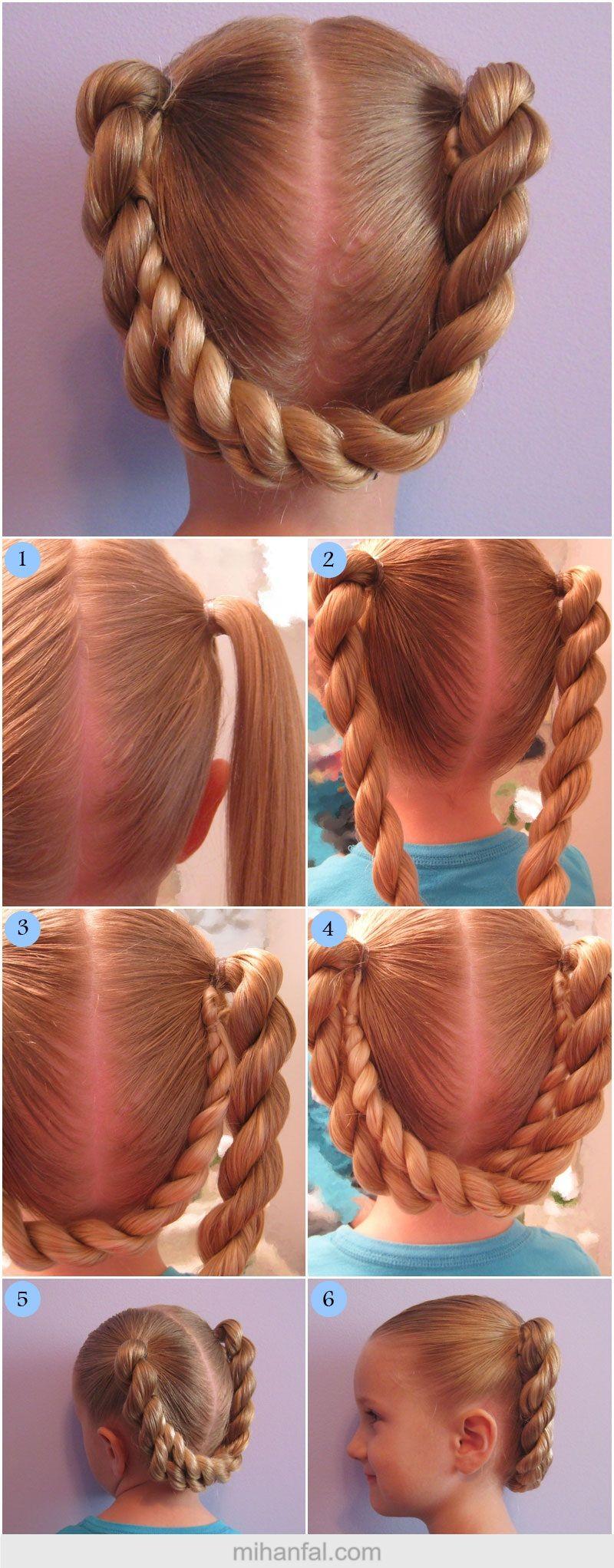 آموزش تصویری یک مدل موی ساده ی دخترانه