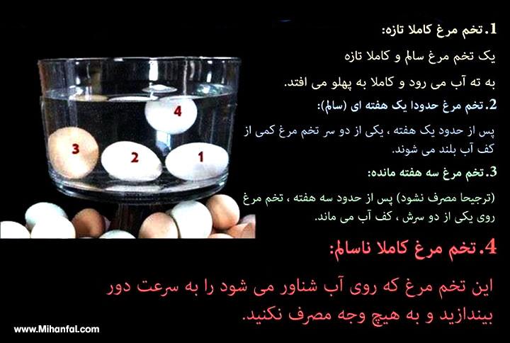 روش تشخیص میزان تازگی تخم مرغ