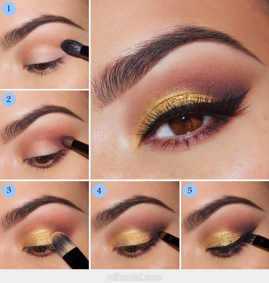 آموزش تصویری آرایش چشم دودی طلایی