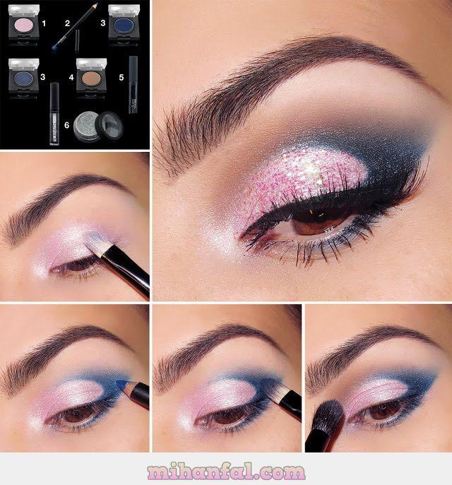 آموزش تصویری آرایش چشم صورتی و آبی