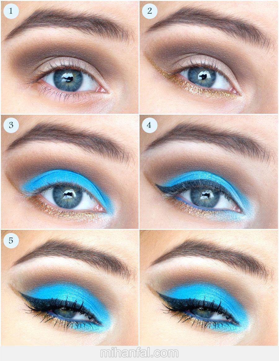 آموزش تصویری آرایش آبی و رویایی چشم