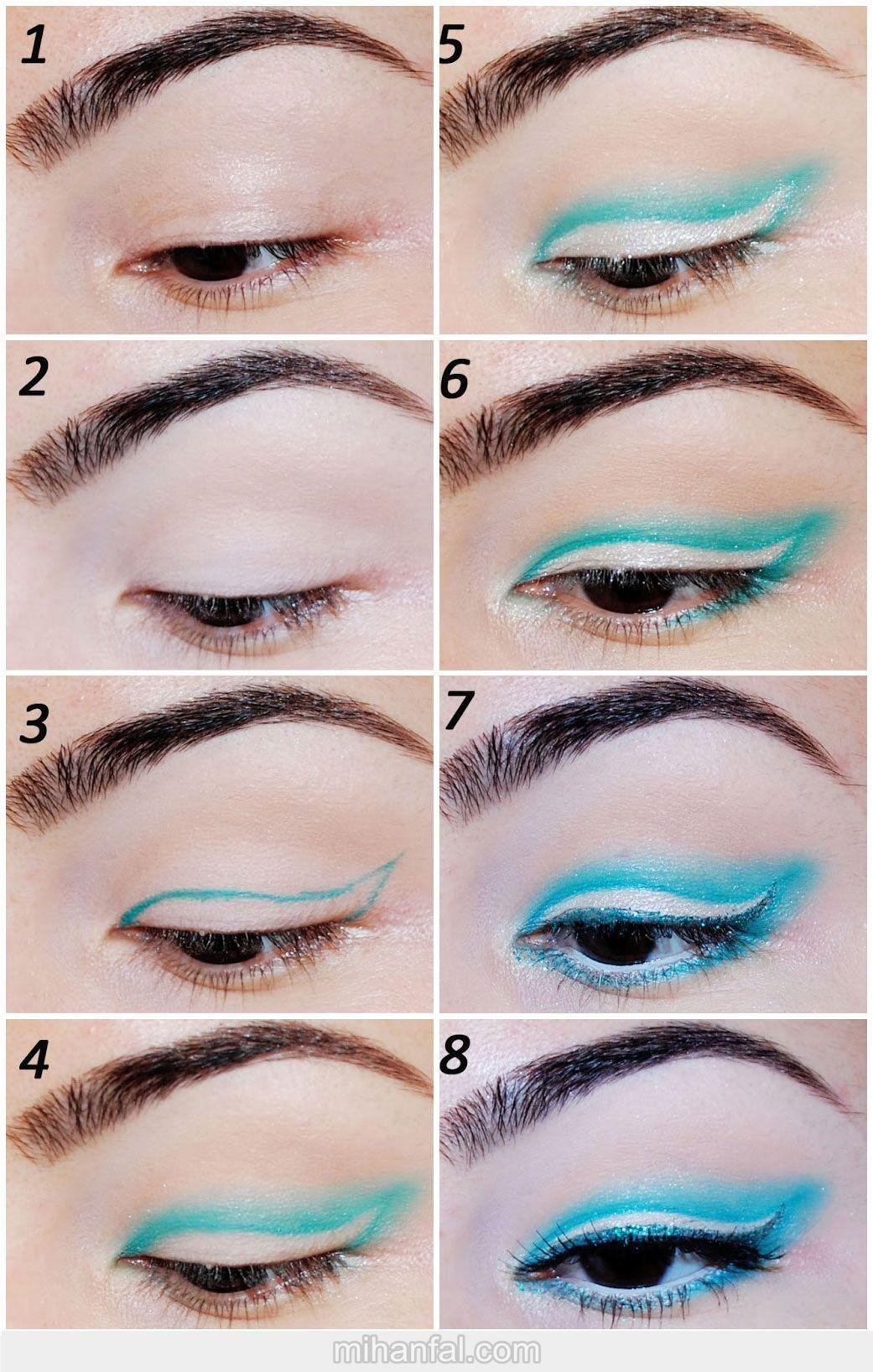 آموزش تصویری آرایش چشم آبی فانتزی