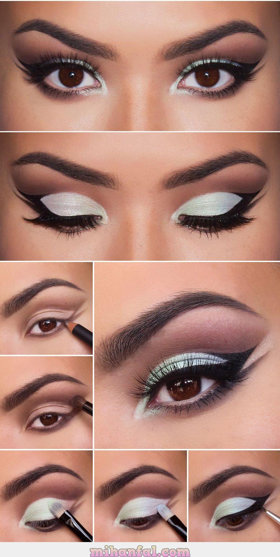 آموزش تصویری آرایش چشم با سایه سفید