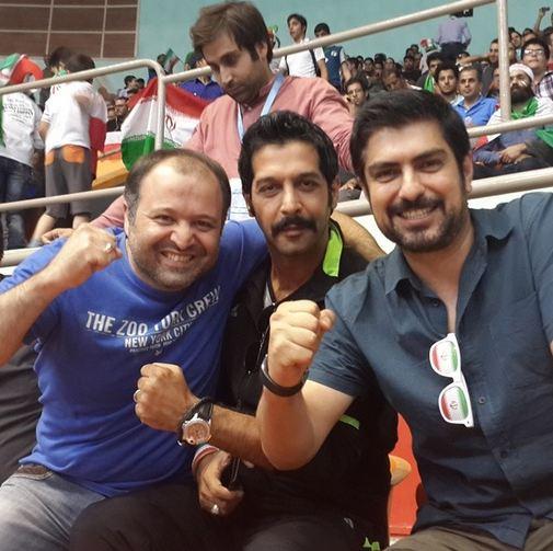 بازیگران معروف در حال تماشای والیبال ایران و لهستان