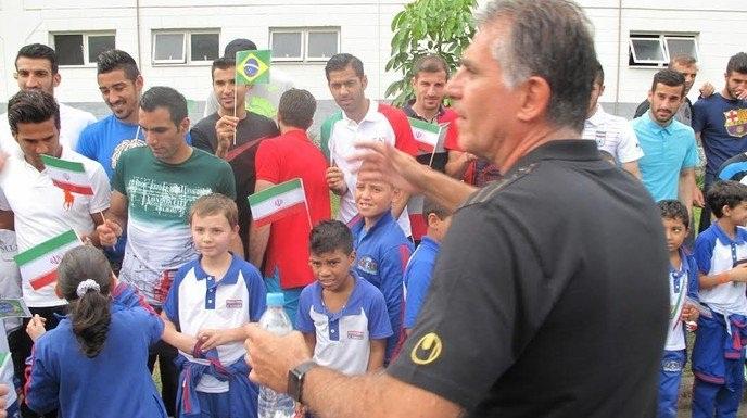 تصاویر بازدید ۵۰ کودک برزیلی از تمرین تیم ملی