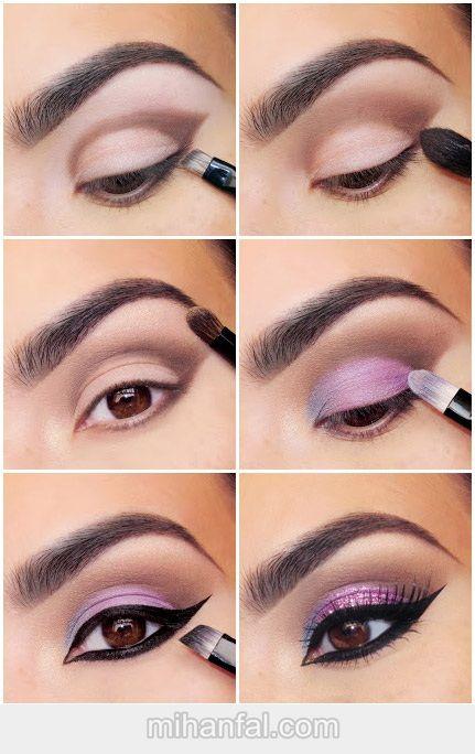 آموزش تصویری آرایش چشم بنفش و آبی
