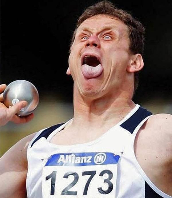 چهره های خنده دار ورزشکاران در حین مسابقه