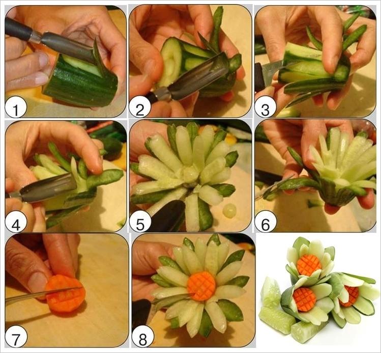 آموزش تزئین خیار به شکل گل