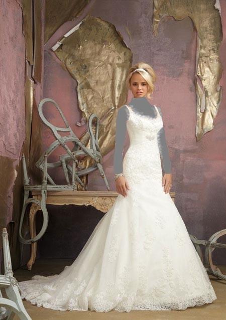 لباس عروس دنباله دار با پارچه ساتن و گیپور