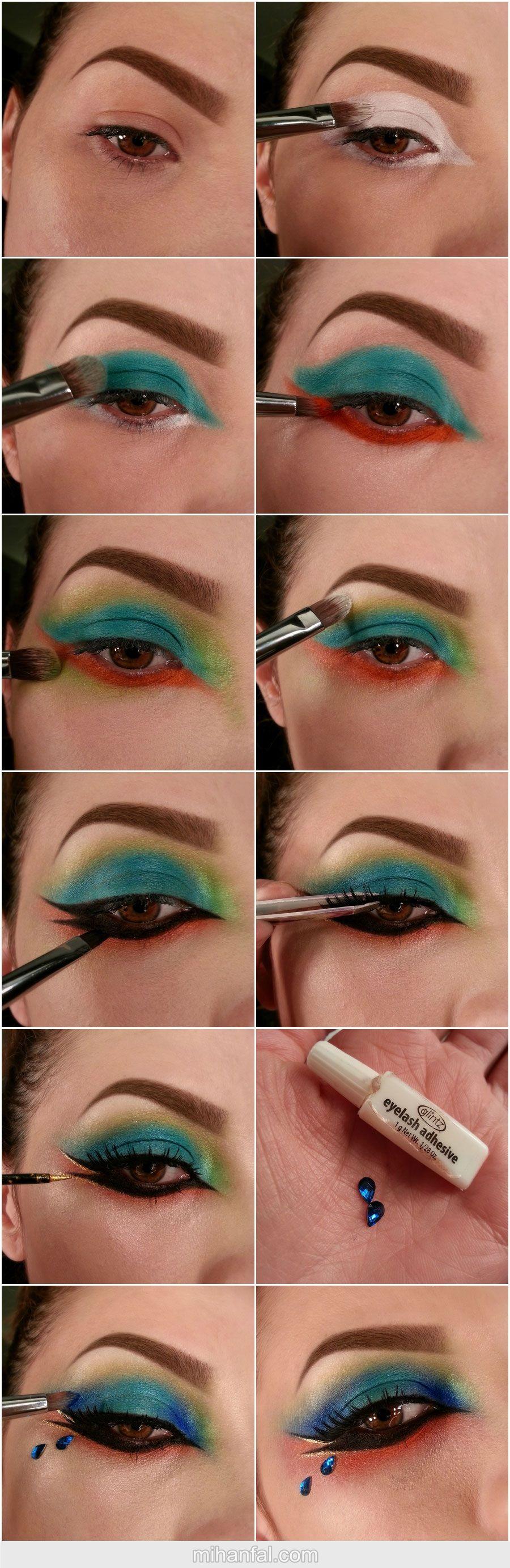 آموزش تصویری آرایش چشم رنگین کمانی