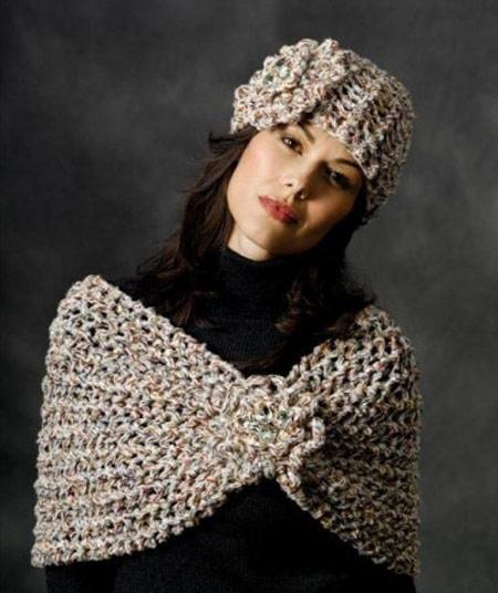 ست جذاب از کلاه و شال گردن زمستانی دخترانه