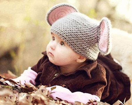 کلاه بافتنی بچگانه طرحدار