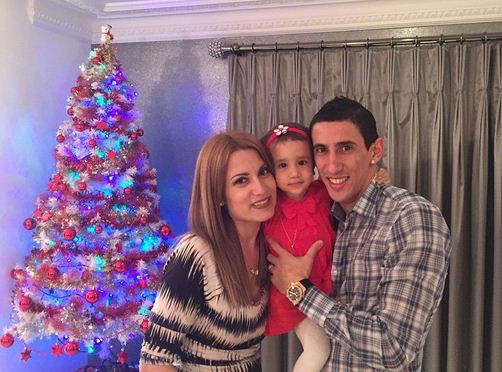 دی ماریا و همسرش در شب کریسمس + عکس