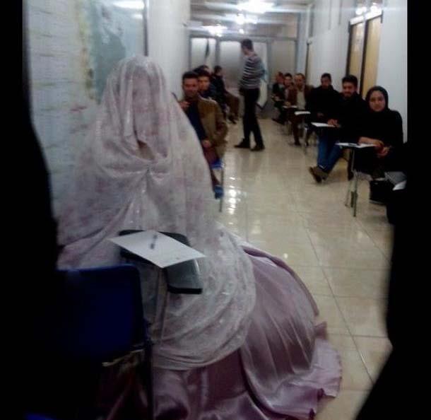 حضور در جلسه امتحان با لباس عروس! + عکس