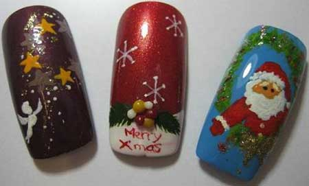 طرح کریسمس همراه با مدل ناخن