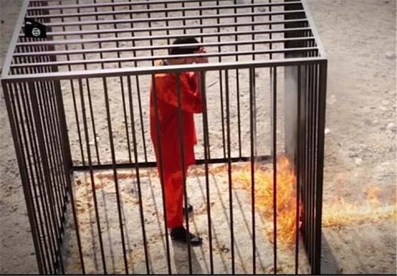 اعدام وحشیانه خلبان اردنی توسط داعش + عکس (+18)
