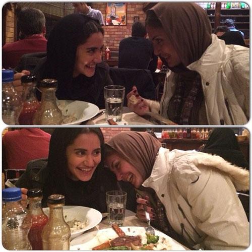 000764 الناز شاکردوست و خواهرش در حال غذا خوردن / عکس