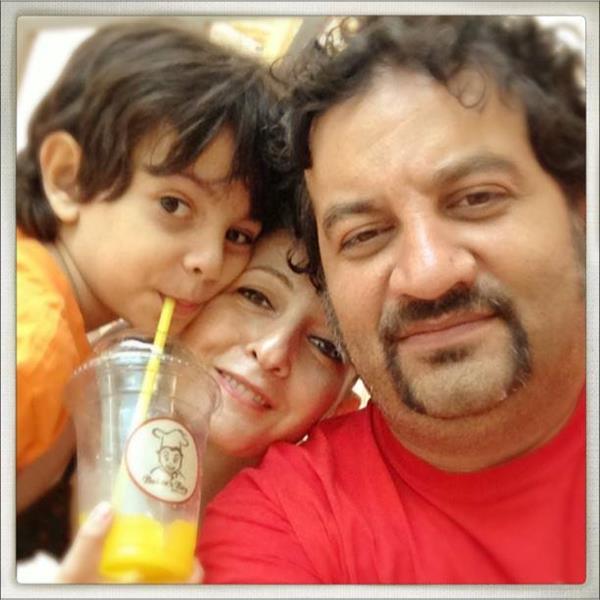 عکس سلفی شقایق دهقان و همسر و پسرش
