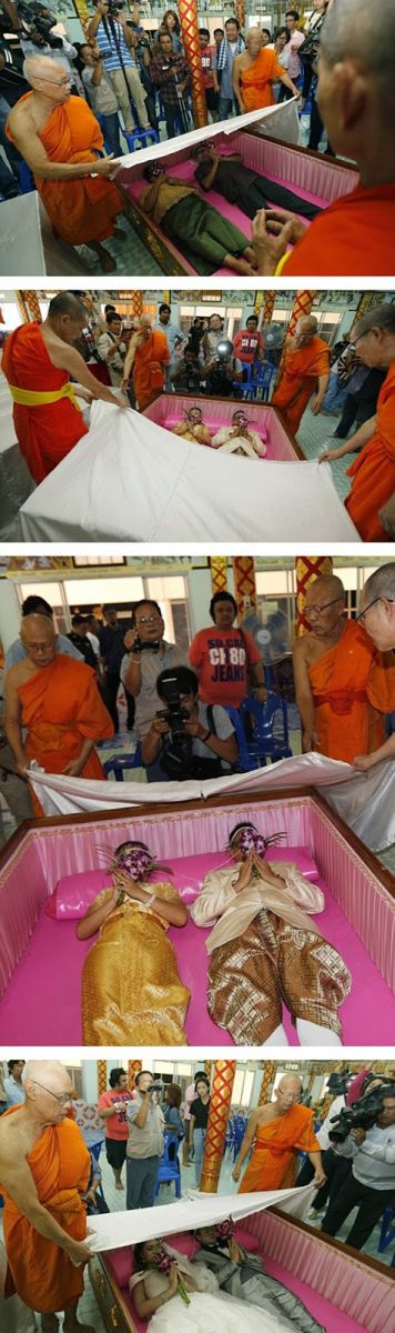 جشن ازدواج تایلندی ها در تابوت