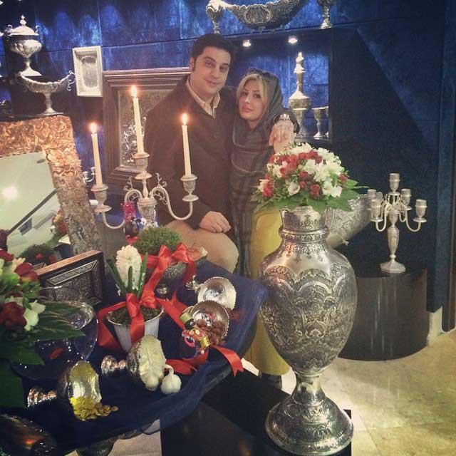 نیوشا ضیغمی و همسرش کنار سفره هفت سین + عکس