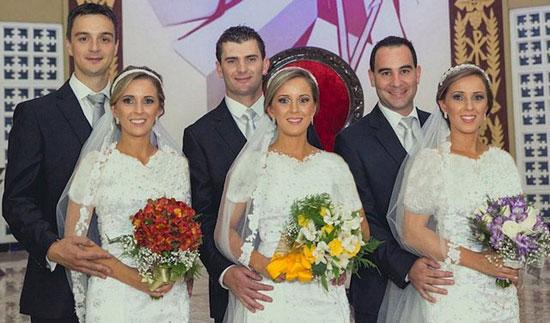 عروسی خواهران سه قلو در یک روز + عکس