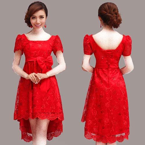 مدل لباس کوتاه مجلسی به رنگ قرمز