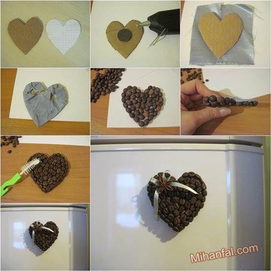 آموزش تصویری تزیین یخچال با دانه های قهوه