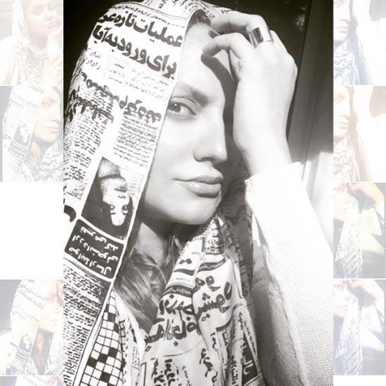 شال جالب مهناز افشار با طرح روزنامه / عکس