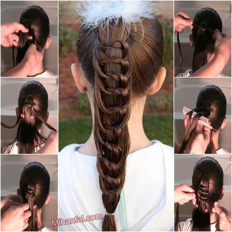 آموزش تصویری بافت مدل موی دم اسبی