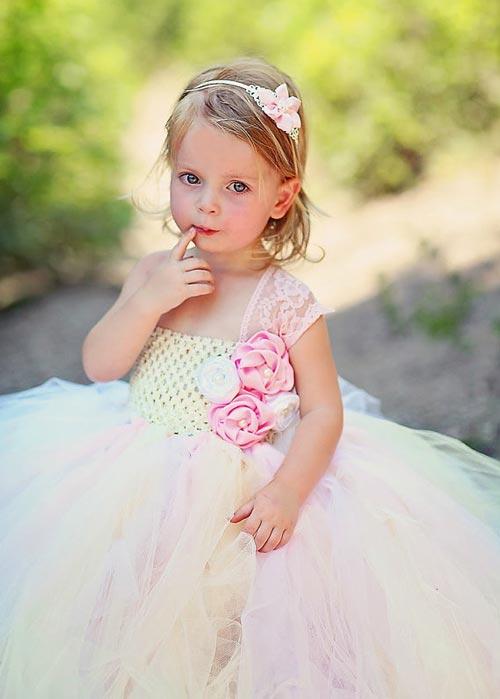 مدل لباس عروس بچگانه توری ۲۰۱۵