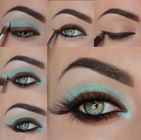آموزش تصویری کشیدن سایه چشم آبی و قهوه ای