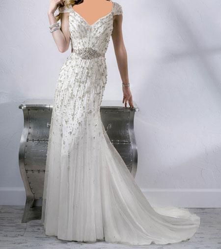 مدل لباس عروس دکلته با پارچه ساتن