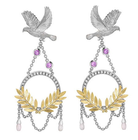 مدل گوشواره نگین دار جواهر برند Theo Fennell