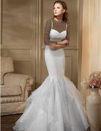 مدل لباس عروس سفید و نباتی رنگ